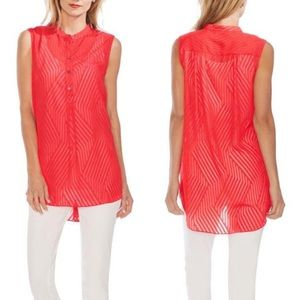 VINCE CAMUTO Stripe Block Sleeveless Henley Tunic